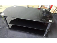 Ex-display Black glass with chrome legs 3 tier tv stand