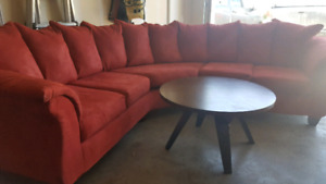 Ashley Furniture Curved Sectional & Coffee Table