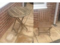 Very small / one person folding garden table and chair