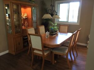 Dining room set with table,leaf ,hutch, china cabinet,chairs