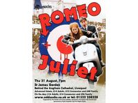 Romeo and Juliet in St James Gardens Thurs 31st August 7pm doors open 5pm