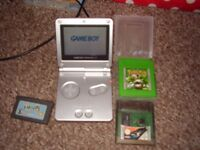 NINTENDO GAMEBOY SP WITH POKEMON GREEN AND CHARGER