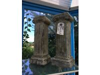 Pair of candle holders for tea lights or garden candles. Stone pillars. Great gift! £7 pair.