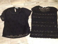 2 x oasis black lace tops - (1 Large fits 12, and a Medium) £10 for both together.