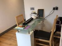Glass Nail Technician Table/ Bench with extractor