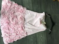 Bridesmaid dress powder pink with rose detail