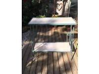 Table, garden. Wrought iron and ceramic tile construction.