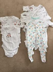 Unisex 0-3 vest and baby grows