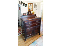 VINTAGE ART DECO CHEST OF DRAWERS DRESSER TABLE CABINET TALLBOY WITH MIRROR