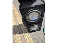 A double Sub woofer with ground zero Amp. And single sub with amp.