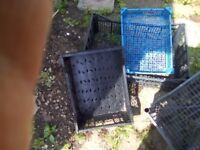 """Four plastic crates, various sizes, 12-24""""length,12-16""""width,9-12""""height."""
