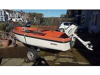Dabbler 10ft unsinkable dinghy with Ailsa Craig outboard and 12ft launch/road trailer