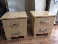 Bedside drawers in light oak