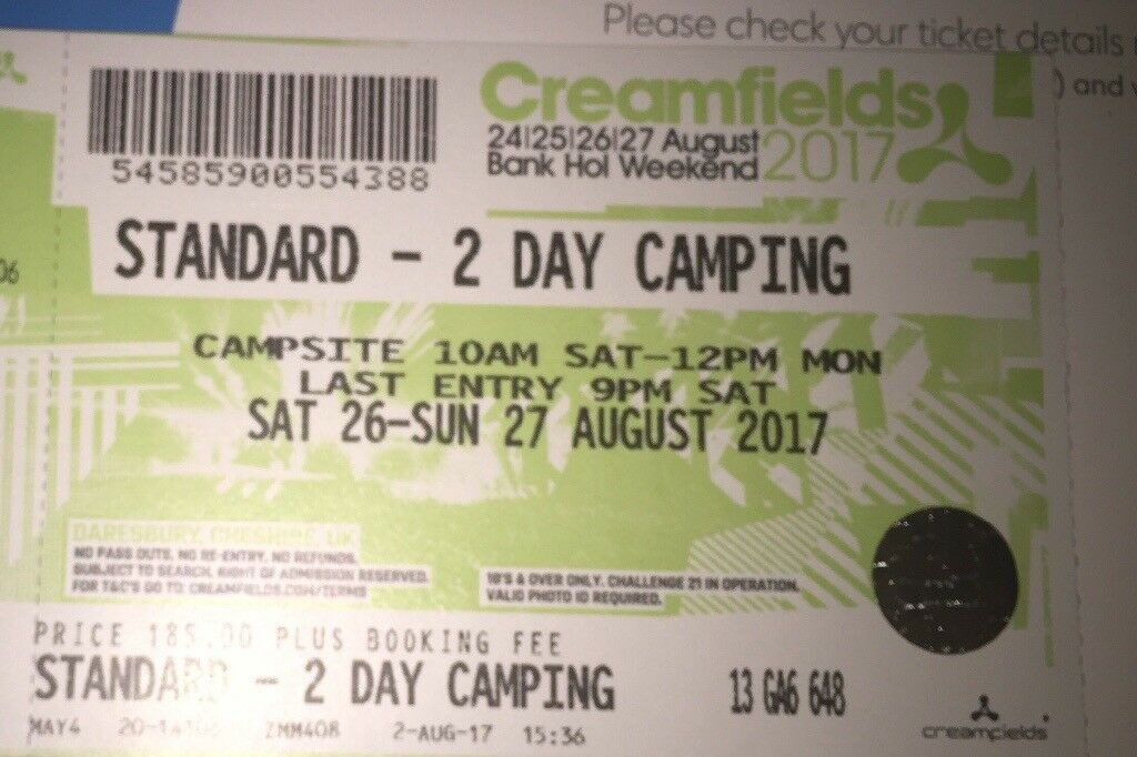 Creamfields - 2 day CAMPING for SALE!!!