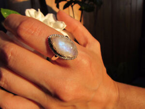 Marquise Shape Rainbow Moonstone Sterling Silver Rings
