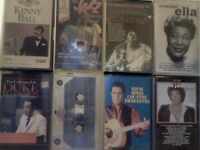KENNY BALL, ELLA FITGERALD, DUKE ELLINGTON, N KING COLE, TOM JONES, ELVIS PRERECORDED CASSETTE TAPES