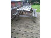 Wooden 6 seater picnic bench