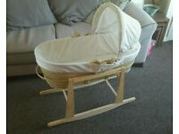 Moses basket with rocking stand, mattress & bedding