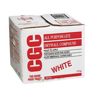 Almost a full box of premix CGC white drywall compound