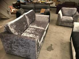 Brand new silver crushed velvet 3 + 1 seater sofa suite