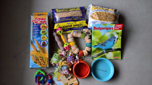 Bag of budgie supplies