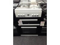 Beko white gas cooker double oven. Glass lid new/graded 12 month gtee