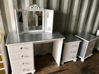 White sparkly dressing table, mirror & 2x Bedsides