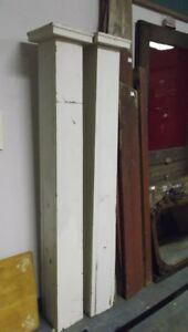 Pair of Shabby Chic Painted  Antique Architectural Wood Columns