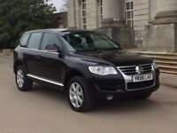 08 Vw Touareg 3.0 Se Tdi V6 Black Low Mileage Full Service History Sat Nav 3 Keys