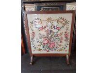 Mahogany framed tapestry fire screen
