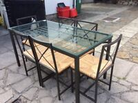 Glass Topped Metal Framed Dining Table with 6 Chairs