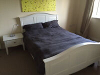 Double bed frame and bedside table
