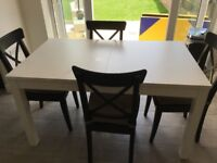 Dining Table Extending White Ikea Bjursta Excellent Condition
