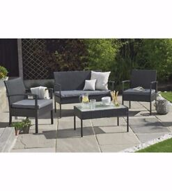 New 4-Piece Rattan-Effect Lounge Set EX Display Chairs Bench Coffee Table Black Grey