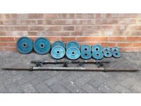 CAST IRON WEIGHST SET WITH BARBELL & DUMBBELLS