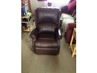 BERWICK PETITE DUAL RISE AND RECLINE- NEW ENGLAND BROWN LEATHER.
