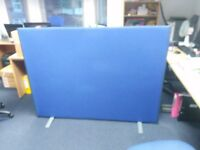2 x Floor Standing Office Screen - Blue Fabric
