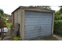Concrete sectional garage.