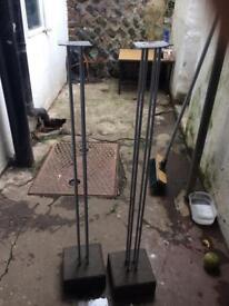 Concrete silver speaker stands