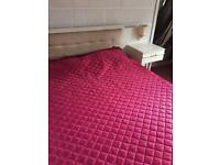 Double bed and double mattress with headboard and 2 x built in bedside tables