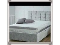 Brand New 4FT6 Double Crushed Velvet Bed Set ( Base + Mattress+ Headboard) Fast Delivery.....