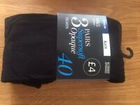 Pack of 3 pairs of M & S tights in black, 40 denier, opaque, size medium