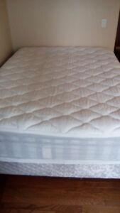 queen mattress + boxspring + frame