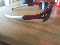 Custom red & white Oakley cycling sunglasses
