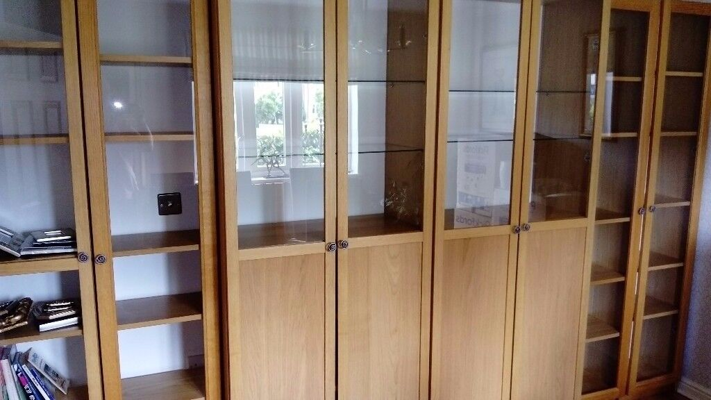 Double Ikea Oak Veneer BILLY Bookcase With Glass Shelves And Half Glass  Doors