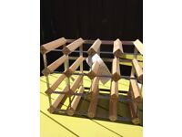 wood and metal wine rack as photo 17 x 12 inches holds 12 bottles