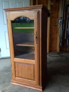 Oak Curio or Component Stereo Cabinet