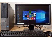 High Spec Dell i3-3220 Desktop PC,4GB DDR3 RAM,500GB hdd,Wifi Ready,win 10 64Bit Computer