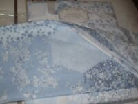 New BHS King Size Duvet Set & 2 Matching Pillowcases, Pale Blue & White Vintage Patchwork Style £20
