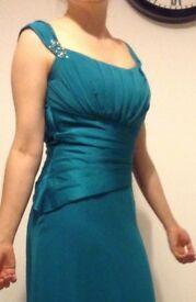Emerald green full length dress core set back size 10